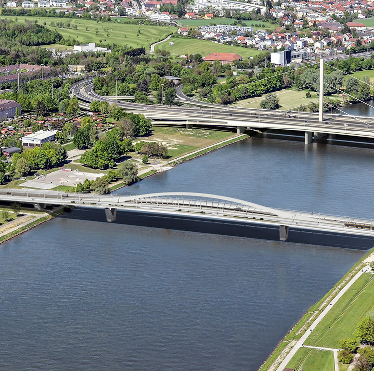 Bridge over the Danube river in Linz
