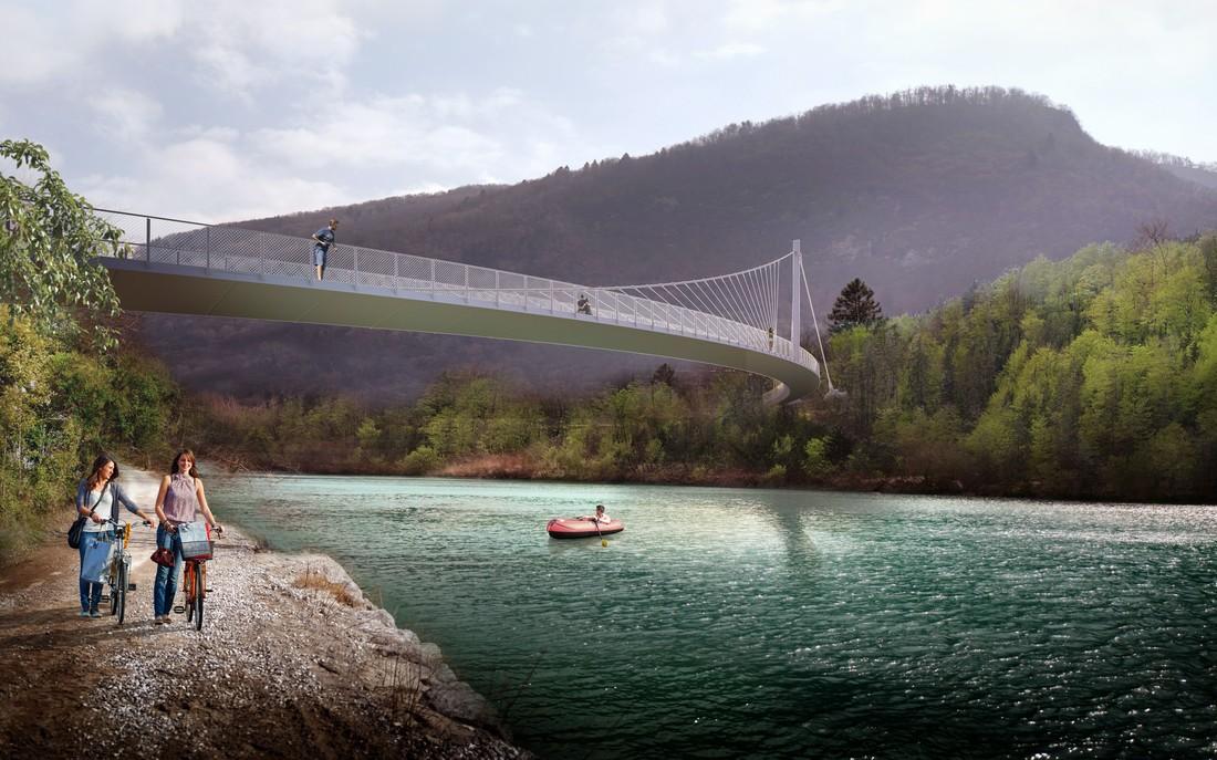 Pedestrian Bridge over the river Soča near Tolmin, Slovenia